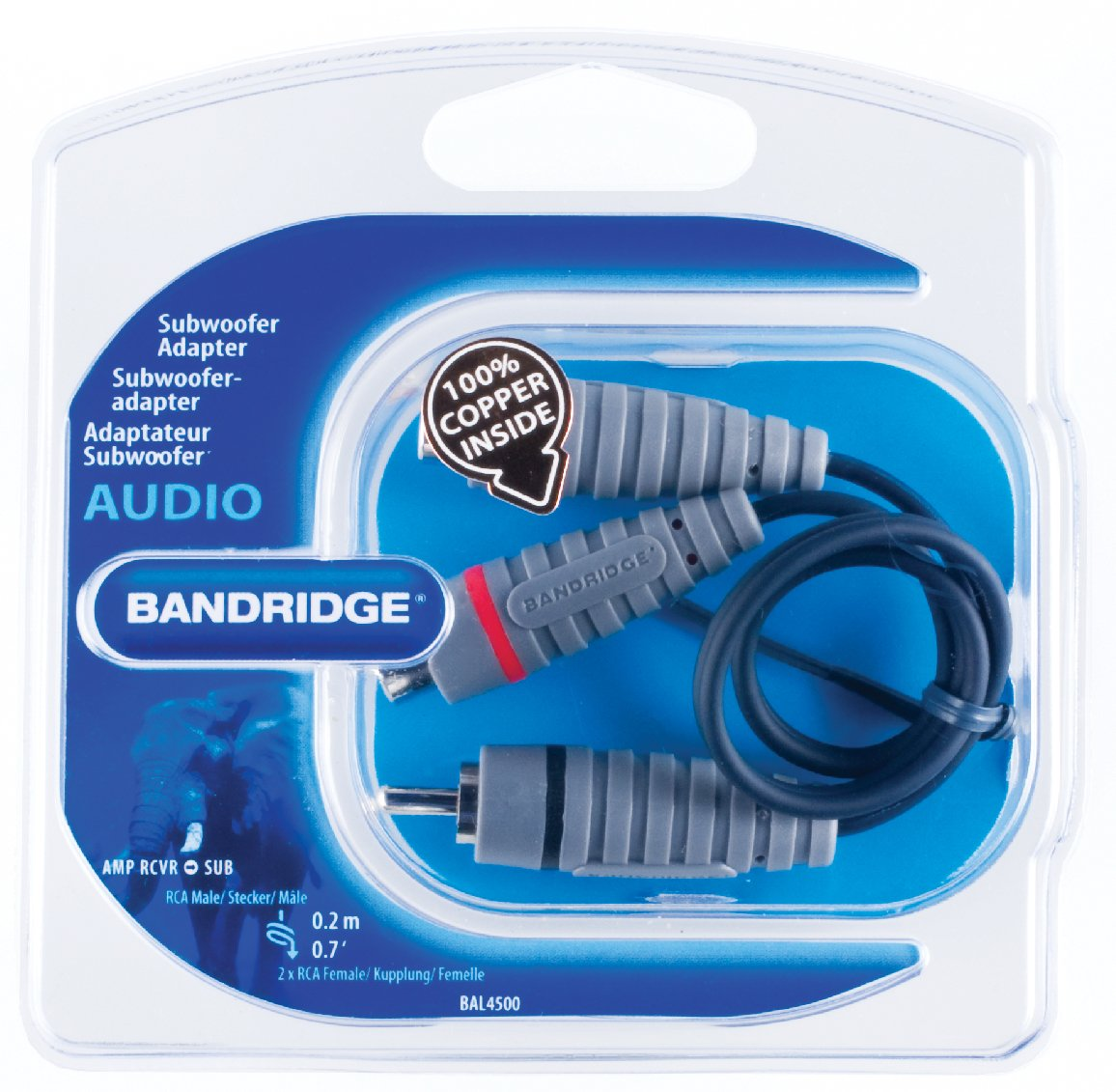 Amazon.com: Bandridge RCA Male to 2 x RCA Female Subwoofer Adapter ...