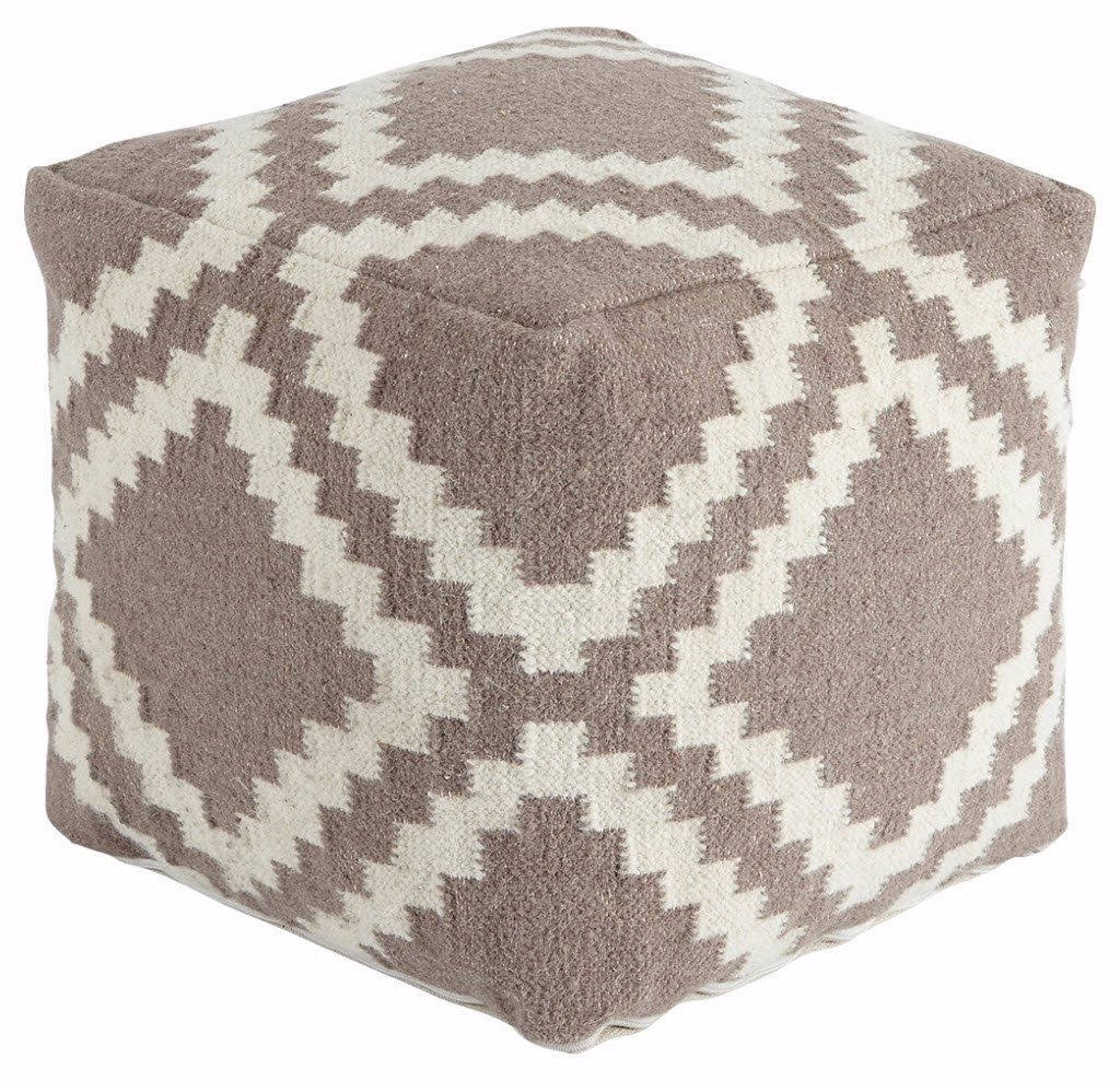 Ashley Furniture Signature Design - Rustic Casual Pouf - Geometric Jigsaw Patterned Seat & Footrest - Gray