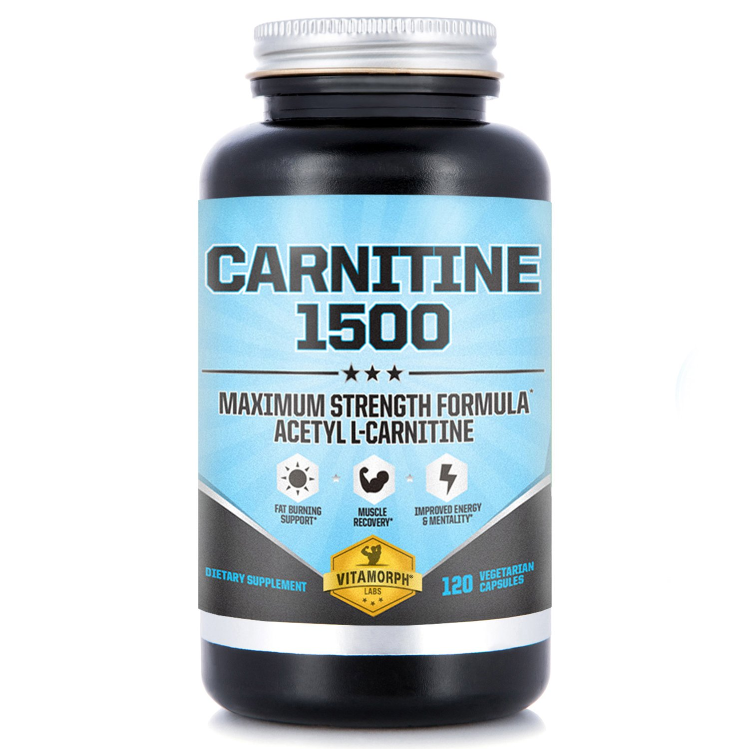 Carnitine 1500 - Acetyl L-Carnitine 1500mg Maximum Strength Carnitine Supplement - Supports Energy, Memory, Focus and Weight Loss Management by Vitamorph Labs - 120 Vegetarian Capsules by Vitamorph Labs