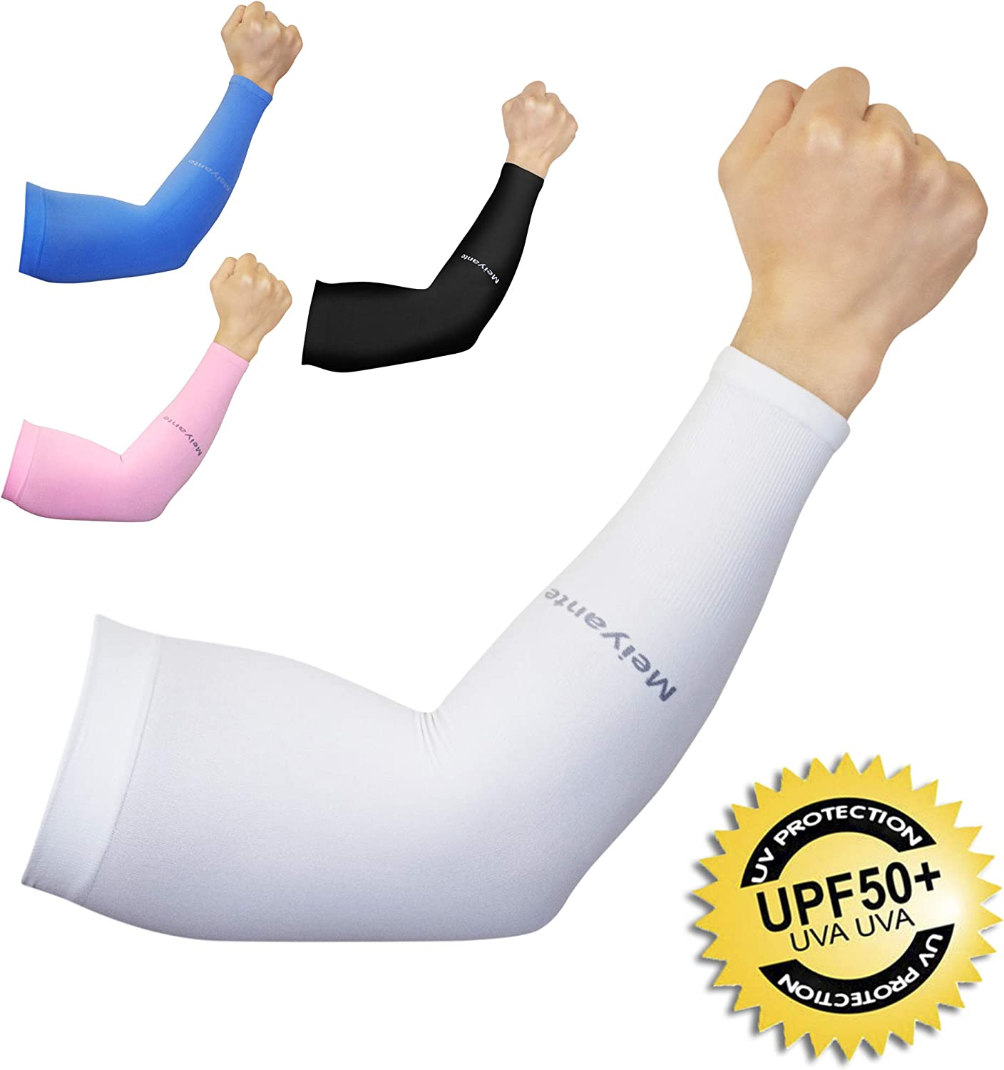 Cooling Arm Sleeves for Men & Women (1 pair), UV Protective UPF 50 Long Sun Sleeves, Tattoo Cover up Sleeves to Cover Arms