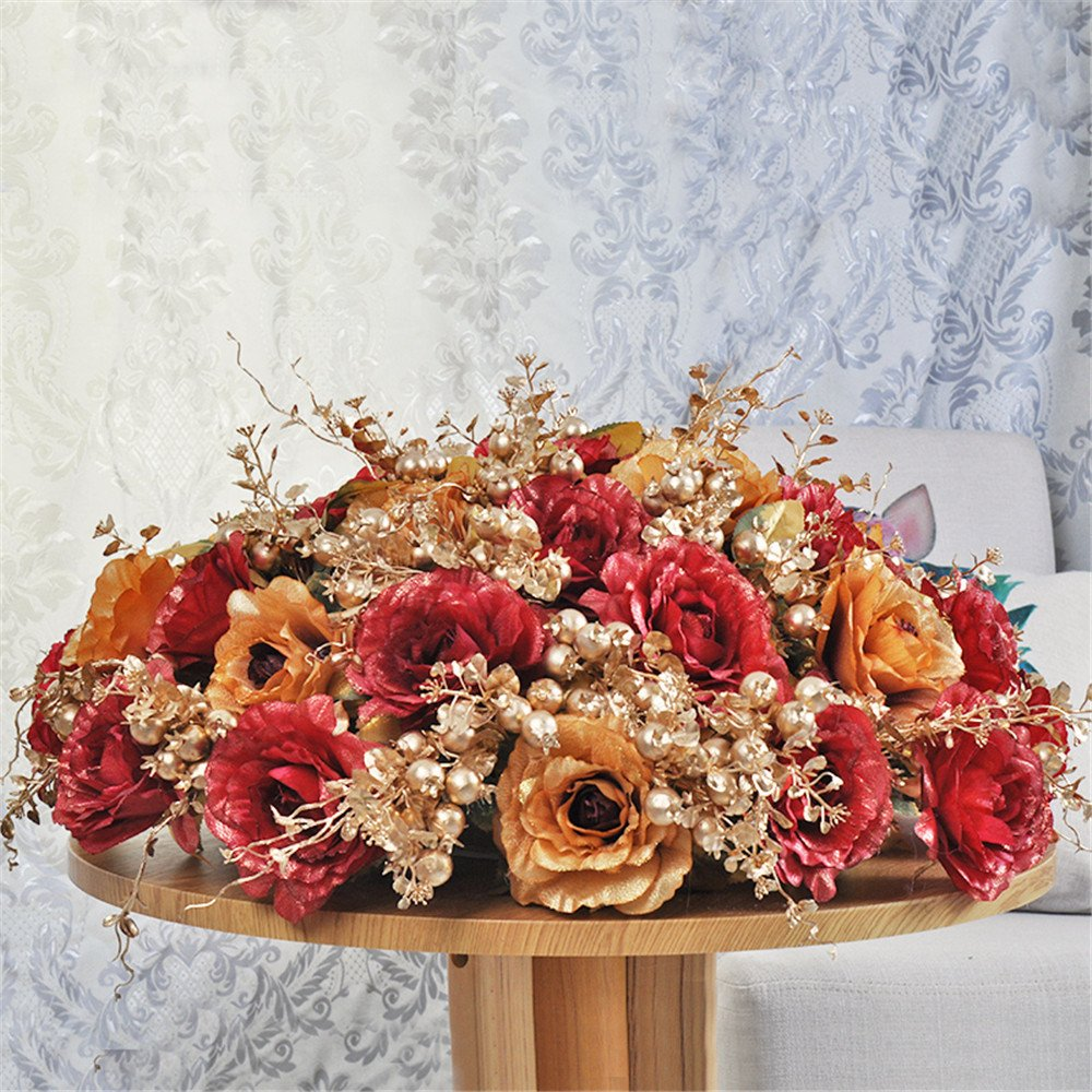 situmi Artificial Flower Largeローズシルク布Phnom Penhセラミック花瓶会議部屋装飾、レッドゴールド70 cm B07193BJ3L