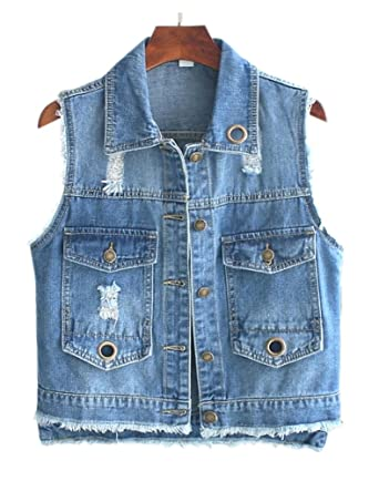 0f4db257e61b88 CYSTYLE Damen Loch Ausfransen Weste Jacke Ärmellos Einfache Beiläufige  Jeansweste (EU XS=Asia M