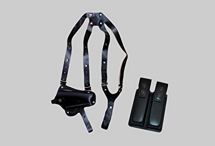 ALIS44503 Vertical- Horizontal Shoulder & Belt Holster with Double Mag  Pouch Fits Colt Springfield Ruger Taurus 1911 RH Handmade! (Black)
