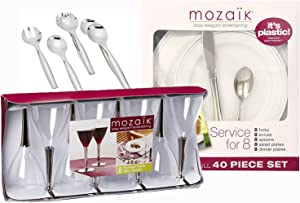 Mozaik 54-Piece Elegant Meal Party Premium Plastic Set - Service For 8  sc 1 st  Amazon.com & Amazon.com: Mozaik Premium Plastic Silver Banded Service for 8 with ...