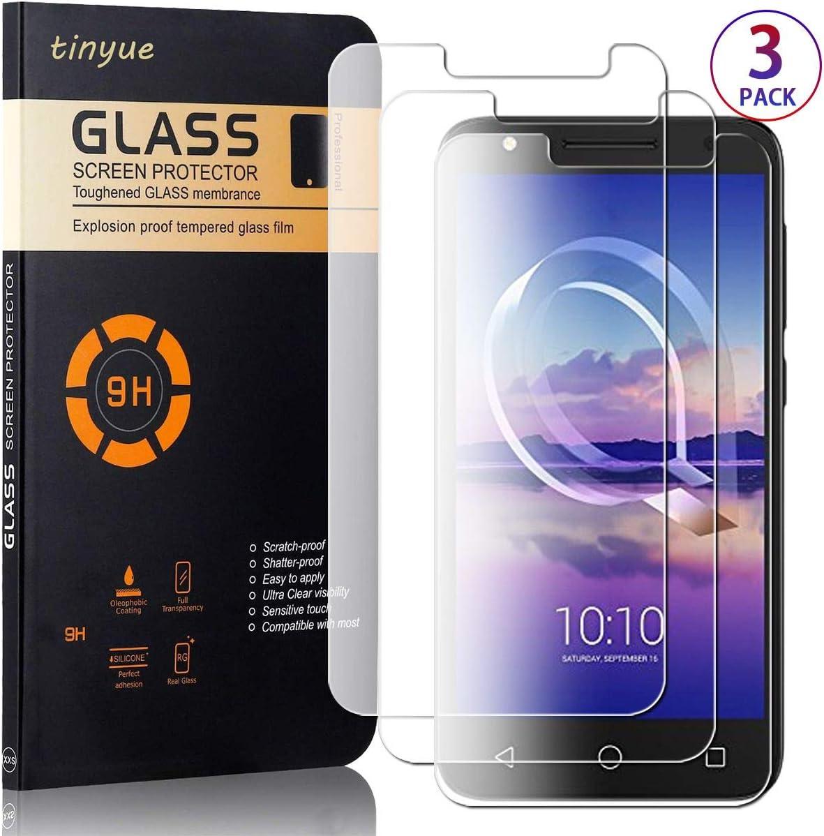 tinyue® [3 Pack Protector de Pantalla de Vidrio Templado, Película de Vidrio a Prueba de explosiones Transparente de Alta dureza 9H para Alcatel Pixi4 5.0 (3G/4G Version, 5010D 5045X), Transparente