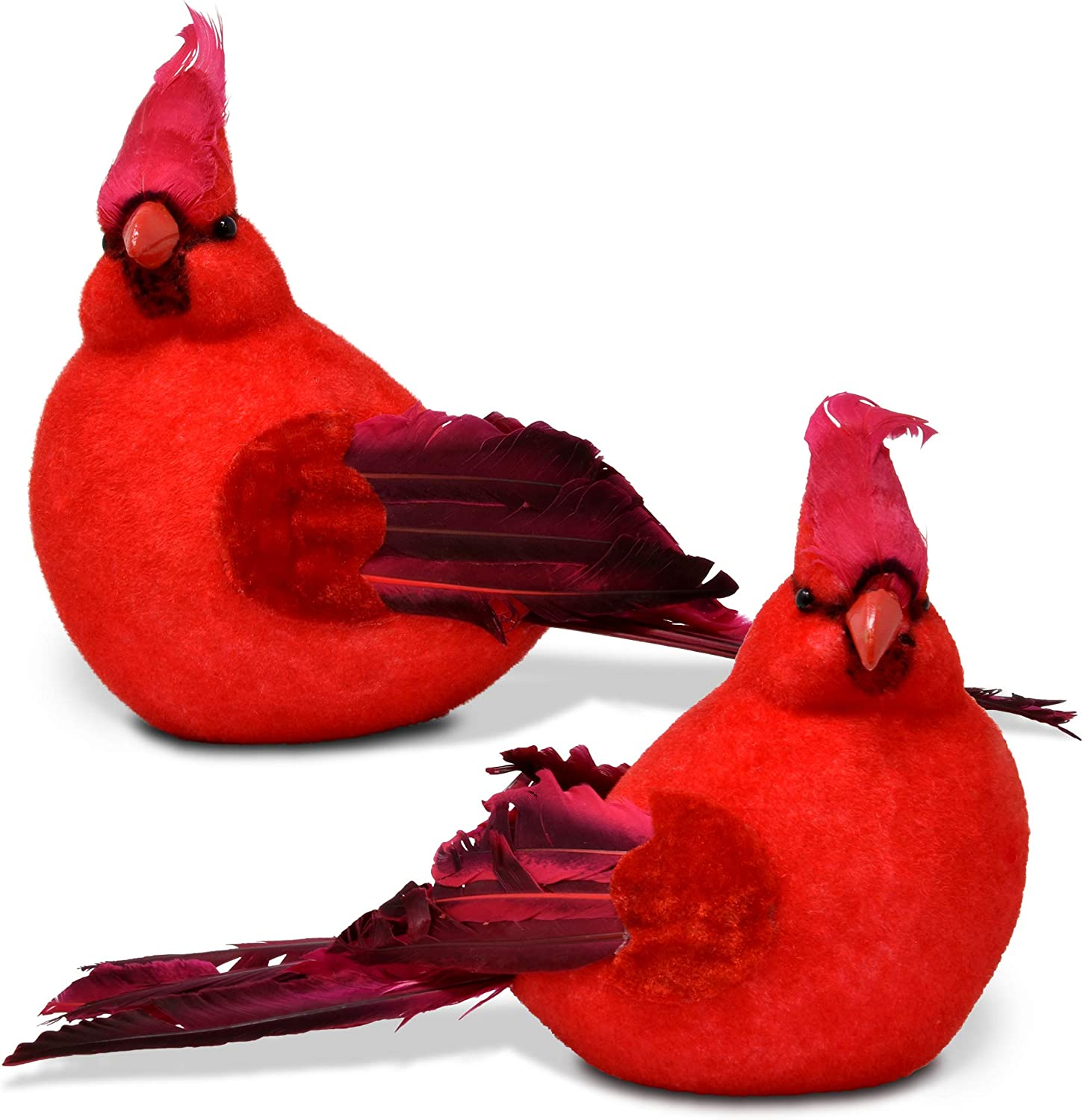 Gift Boutique Bright Red Artificial Christmas Cardinal Birds Set of 2 Realistic Feathered Velvet Cardinals Craft Decorations 11 Inch Cardinals Decor Home Table Shelf Desk Fireplace Mantle