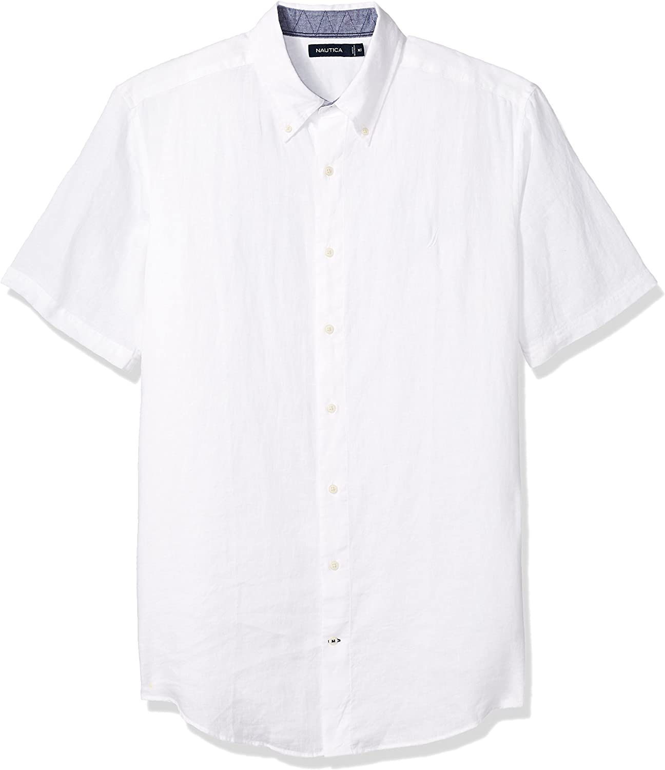 Nautica Classic Fit Short Sleeve Plaid Linen Button Down Shirt