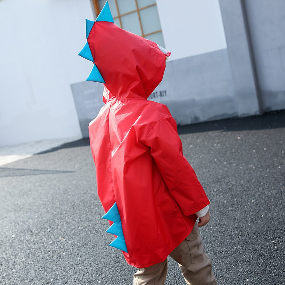 Portable Hooded Age 3-8 Kids Rainwear Waterproof Raincoat Lightweight Rain Jacket BEARCOLO Children Carton Dinosaur Rain Poncho