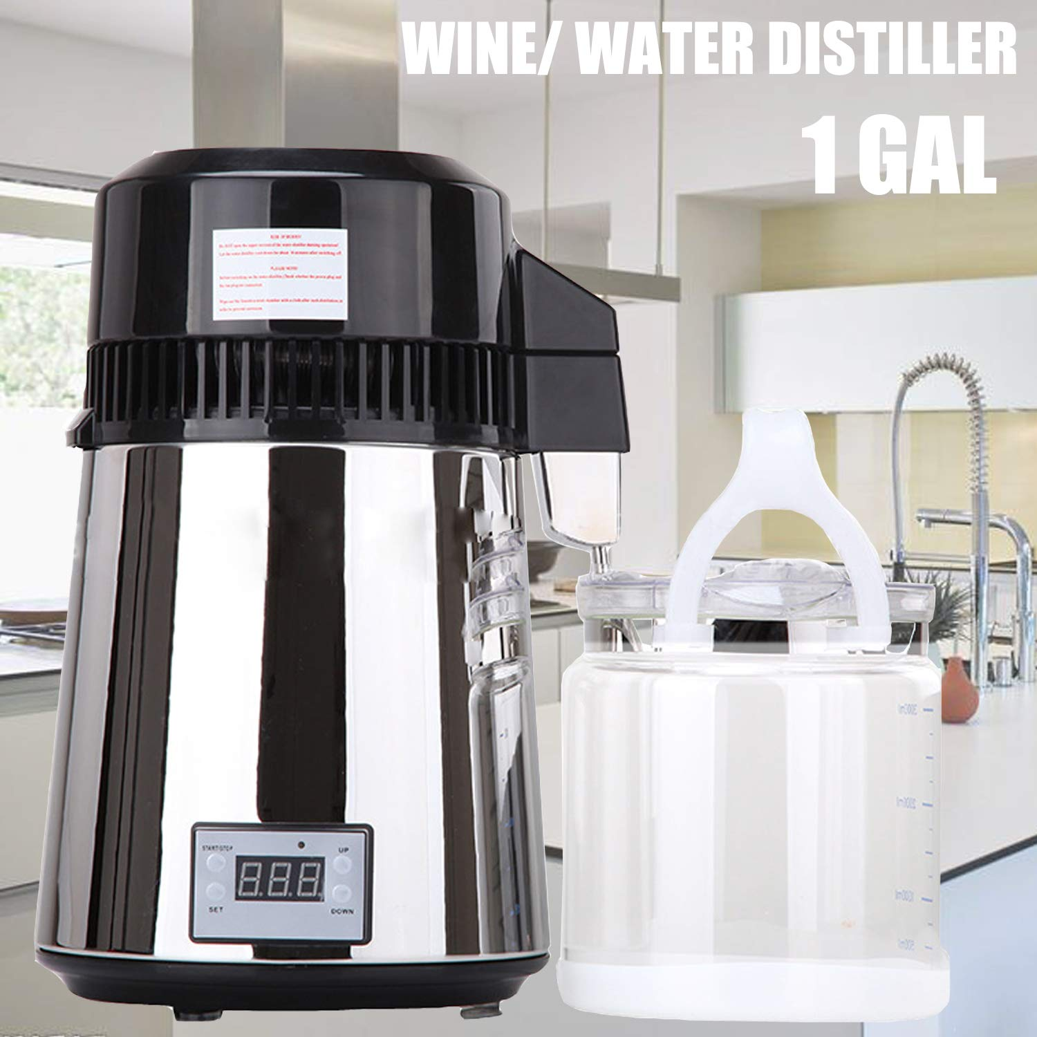 ZTPOWER Distilled Water Alcohol Machine 1 Gal Countertop Electric Wine Alcohol Purification Distiller Pure Dew Distillation Kit Moonshine Still Air Whiskey Vodka (Electric, 1GAL)
