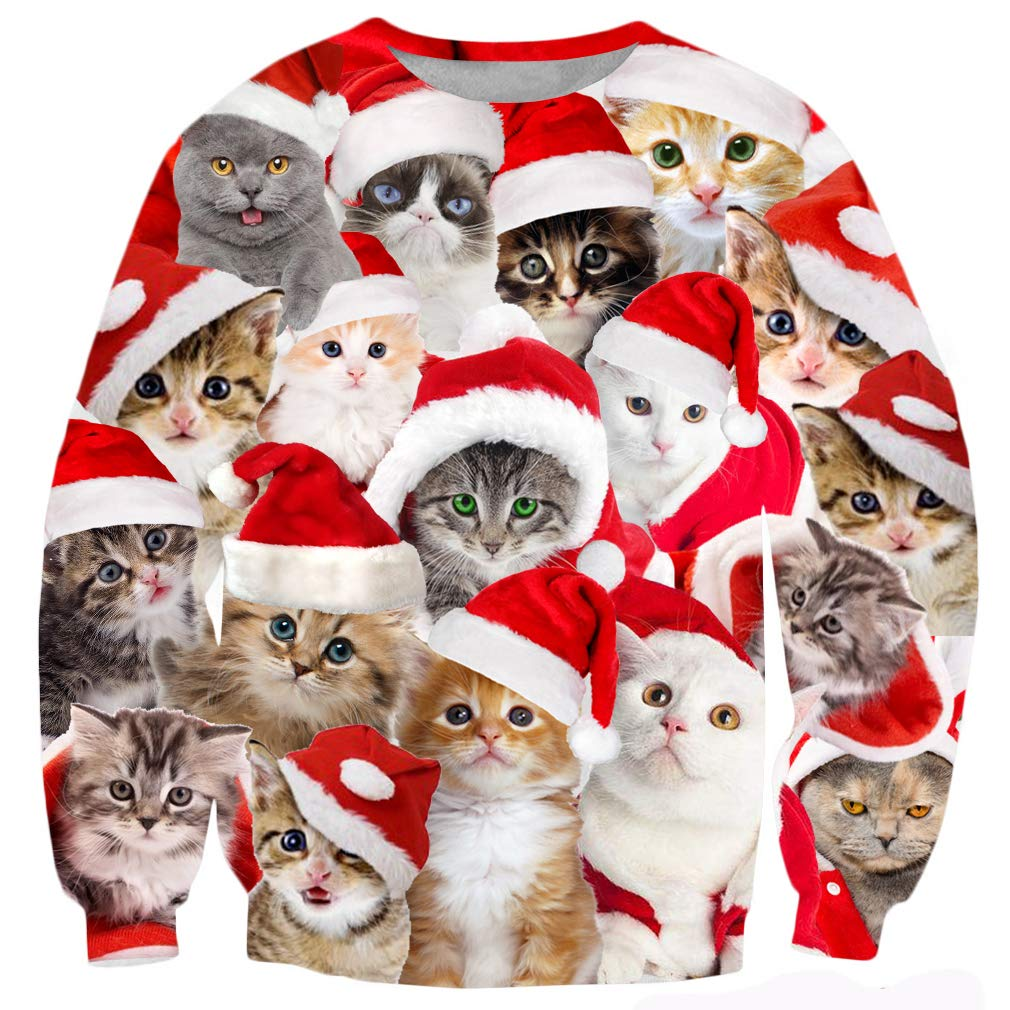 TUONROAD Couples Matching Ugly Christmas Sweater Crazy Novelty Cats Graphic Printed Tacky Sweatshirt Crew Neck Long Sleeve Pullover Jumper Top for Adults Youth
