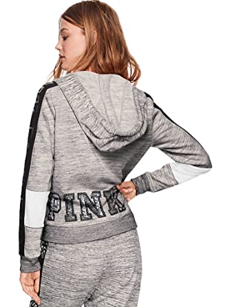 36a47053d5de4 Amazon.com: Victoria's Secret Pink Perfect Full Zip Hoodie Heather ...