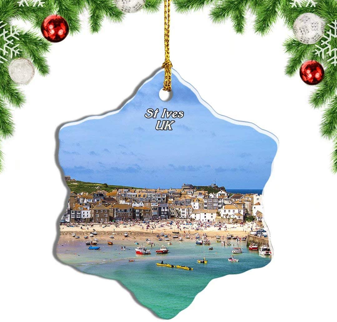 Weekino UK England St Ives Cornwall Port Christmas Ornament Travel Souvenir Tree Hanging Pendant