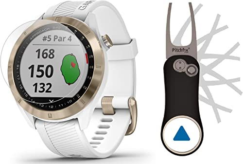 Garmin Approach S40 White Gold Golf GPS Smartwatch Bundle Includes Garmin PlayBetter Pitchfix Divot Tool HD Screen Protectors Stylish, Color Touchscreen, 41,000 Courses 010-02140-02