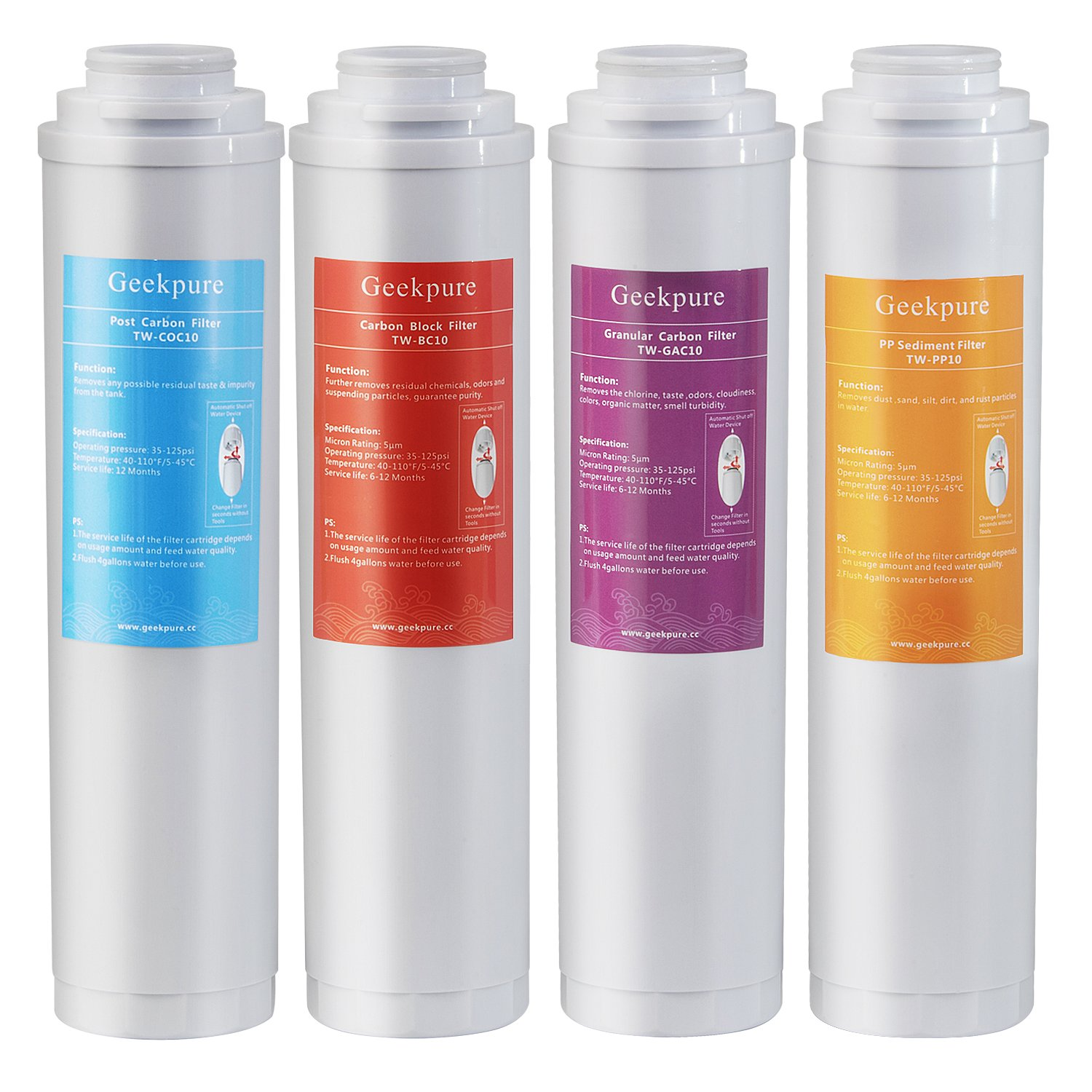 Geekpure Replacement Pre-Filter Sets for RO-TW Series Reverse Osmosis System(1xPP Sediment 1xGranular Carbon 1xCarbon Block 1xPost Carbon Filter- NO membrane)-5 Micron by Geekpure
