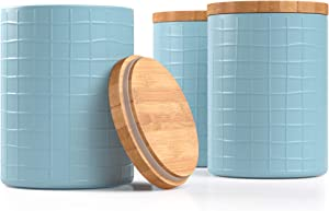 Barnyard Designs Kitchen Canisters with Bamboo Lids, Airtight Metal Canister Set, Coffee, Sugar, Tea, Flour Storage Containers, Farmhouse Kitchen Decor, Seafoam Blue, 5.25