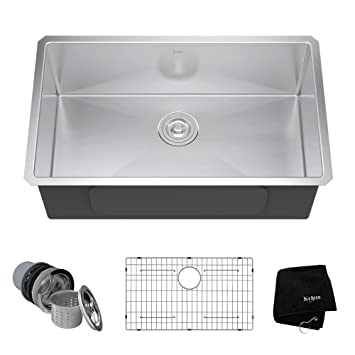 KRAUS KHU100 30 30 Inch 16 Gauge Undermount Single Bowl Stainless Steel Sink