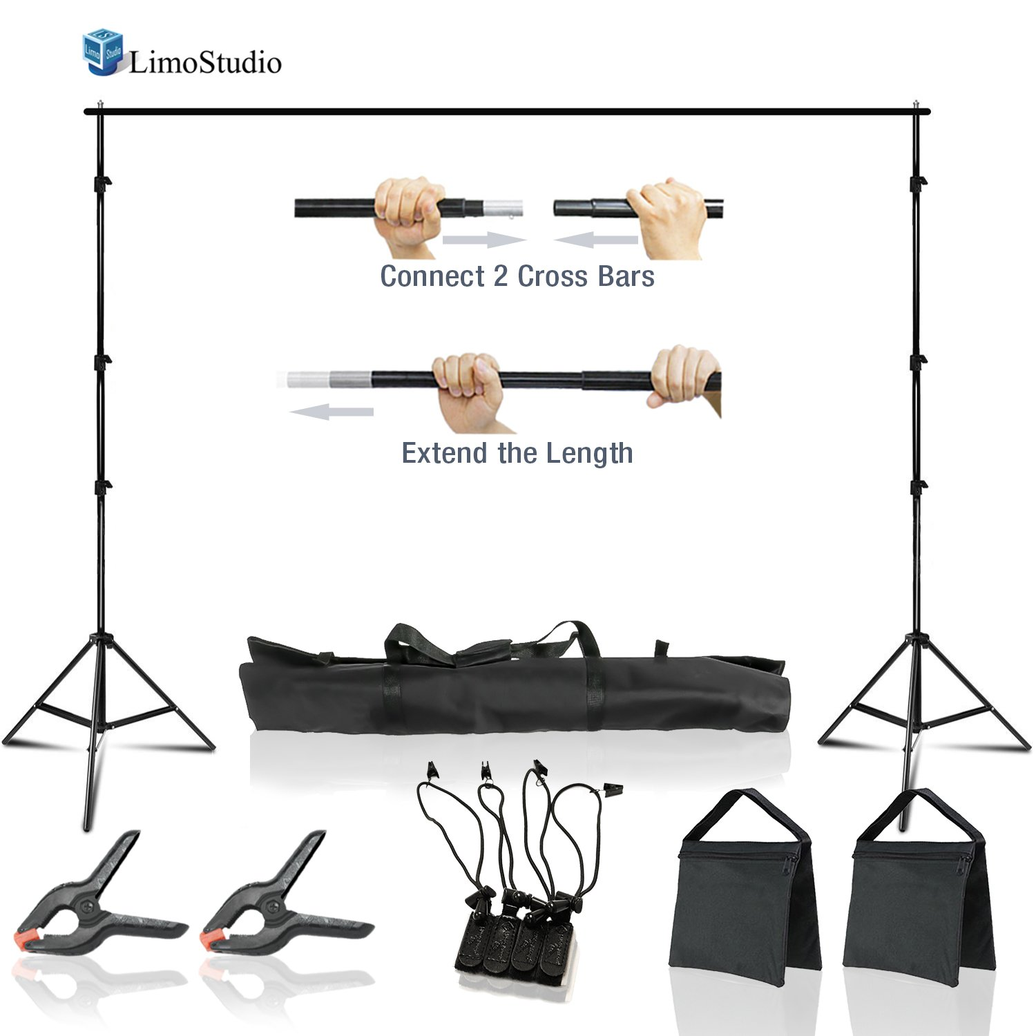 LimoStudio 10 x 8.5 ft Adjustable Photo Video Background Muslin Stand, Backdrop Support System Kit with Accessories, Spring Clamp, Sand Bag, AGG2612 by LimoStudio