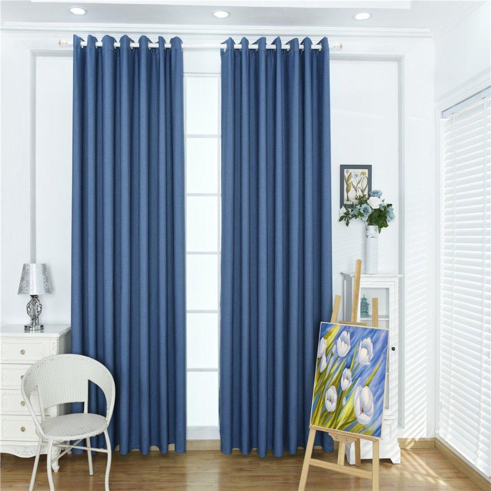 super1798 Solid Color Sheer Darkening Blackout Shade Home Window Curtain - Dark Blue