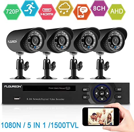 XVIM 8CH 5in1 1080P HDMI DVR 1500TVL Outdoor CCTV Home Security Camera System
