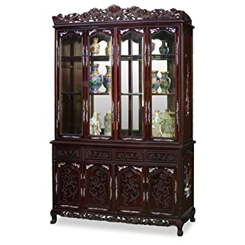 China Furniture Online Rosewood China Cabinet, 60 Inches French Ann Grape  Motif With Mother Pearl