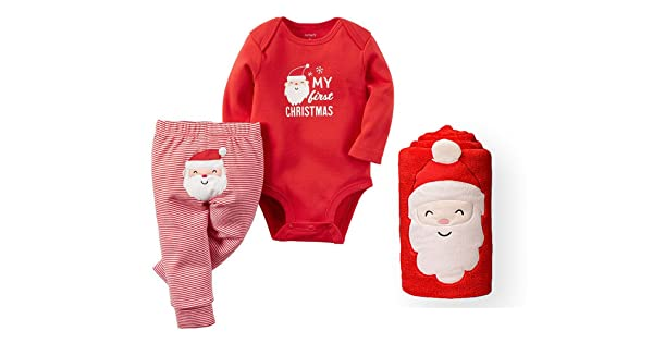 b2823c02f Carter's Baby My First Christmas Bodysuit and Pants Set with Santa Blanket