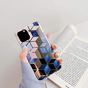 Cocomii Geometric Marble iPhone 6S/6 Case, Slim Thin Glossy Soft Flexible TPU Silicone Rubber Gel Shiny Reflective Streaks Fashion Phone Case Bumper Cover Compatible with Apple iPhone 6S/6 (Blue/Gold)