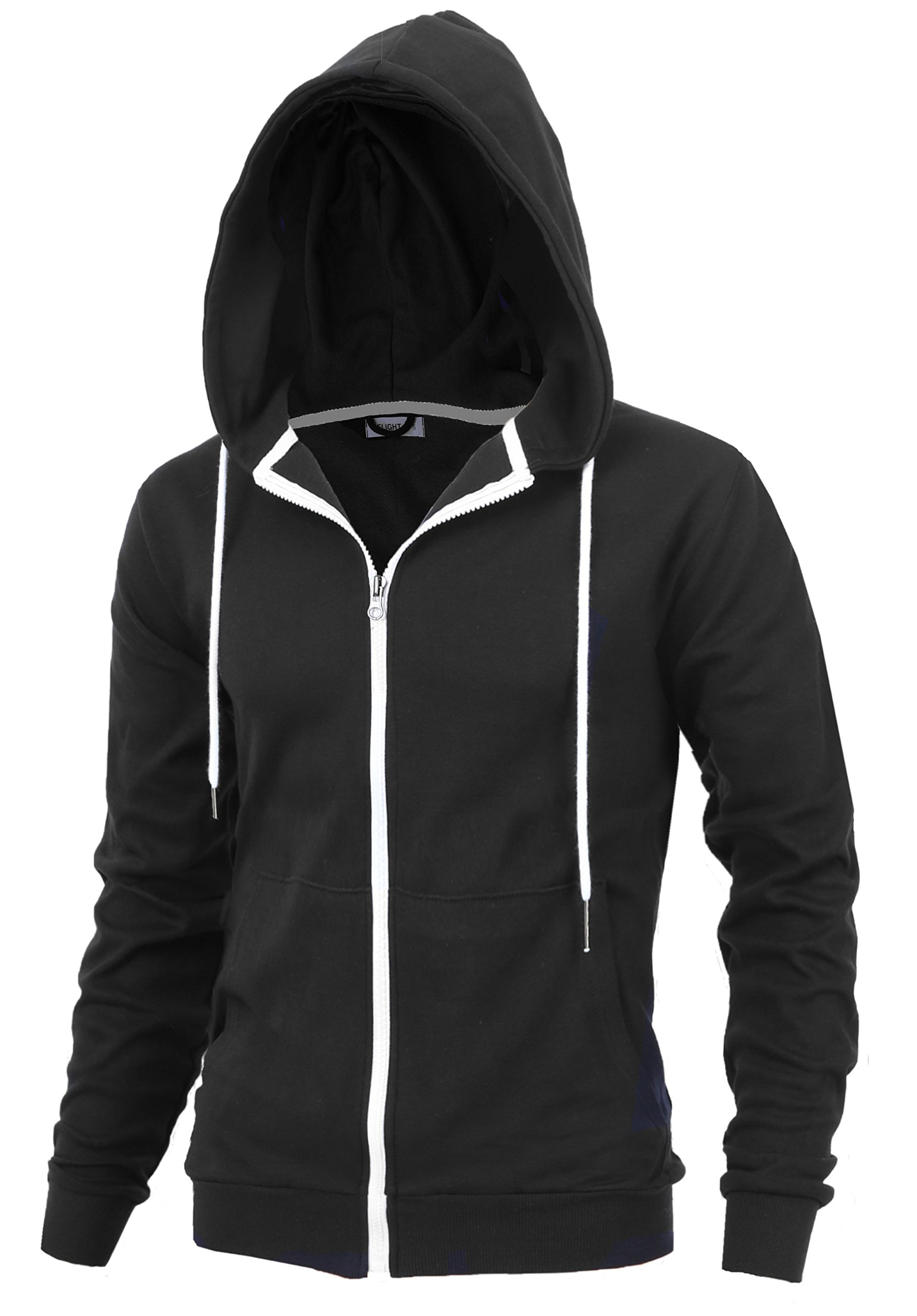 ''DELIGHT'' Men's Fashion Fit Full-zip HOODIE with Inner Cell Phone Pocket (US MEDIUM, BLACK)