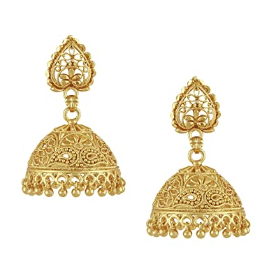 1bcbae643 Image Unavailable. Image not available for. Color: Bodha 18k Gold Plated  Traditional Indian Jhumka Earrings ...