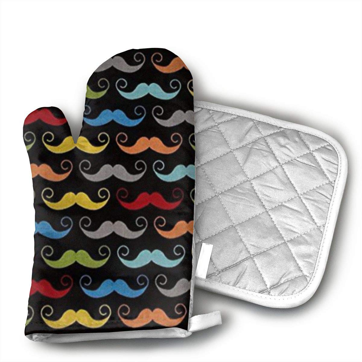 Wiqo9 Blake Geekly Chic Mustache Black Oven Mitts and Pot Holders Kitchen Mitten Cooking Gloves,Cooking, Baking, BBQ.