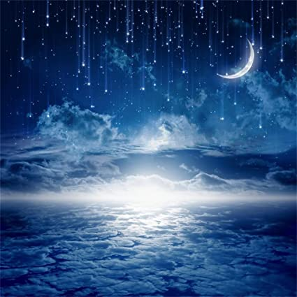 Aofoto 10x10ft Dreamy Starry Sky Backdrop Sweet Crescent Moon Photography Studio Background Fantasy Sparkling Stars Night Clouds Good Dream Photo
