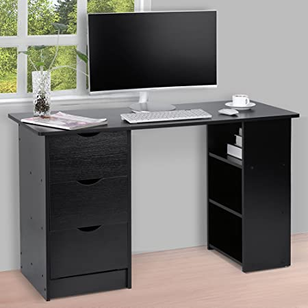 home office drawers. Computer Desk With 3 Drawers And Shelves, Home Office PC Table Workstation, Black A