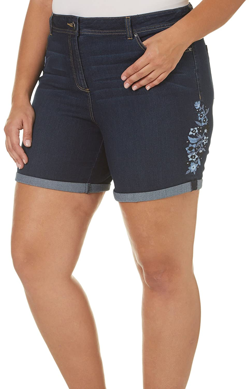 DEPT.8 Dept 222 Plus Embroidered Denim Roll Shorts