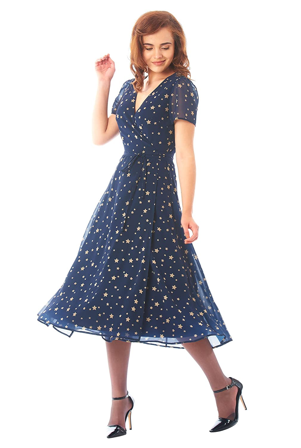 1950s Dresses, 50s Dresses | 1950s Style Dresses eShakti Womens Star Print Georgette midi wrap Dress $64.95 AT vintagedancer.com