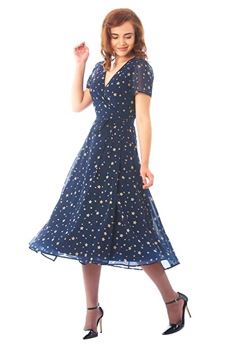 1940s Evening, Prom, Party, Cocktail Dresses & Ball Gowns Star print georgette midi wrap dress $64.95 AT vintagedancer.com