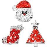 Souarts Mixte Style Noël Bouton à Pression pour Bracelet Strass 5.5mm Lot de 3pcs