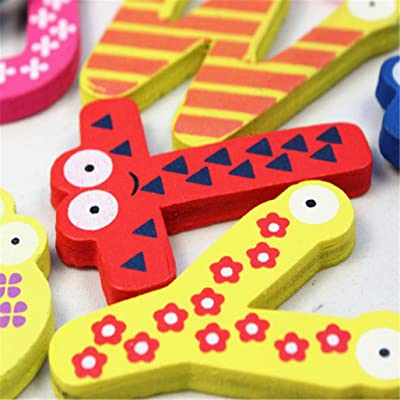 Tuscom Colorful Cute 26 Letters Wooden Cartoon Fridge Magnet kid's Baby Educational Toy: Clothing