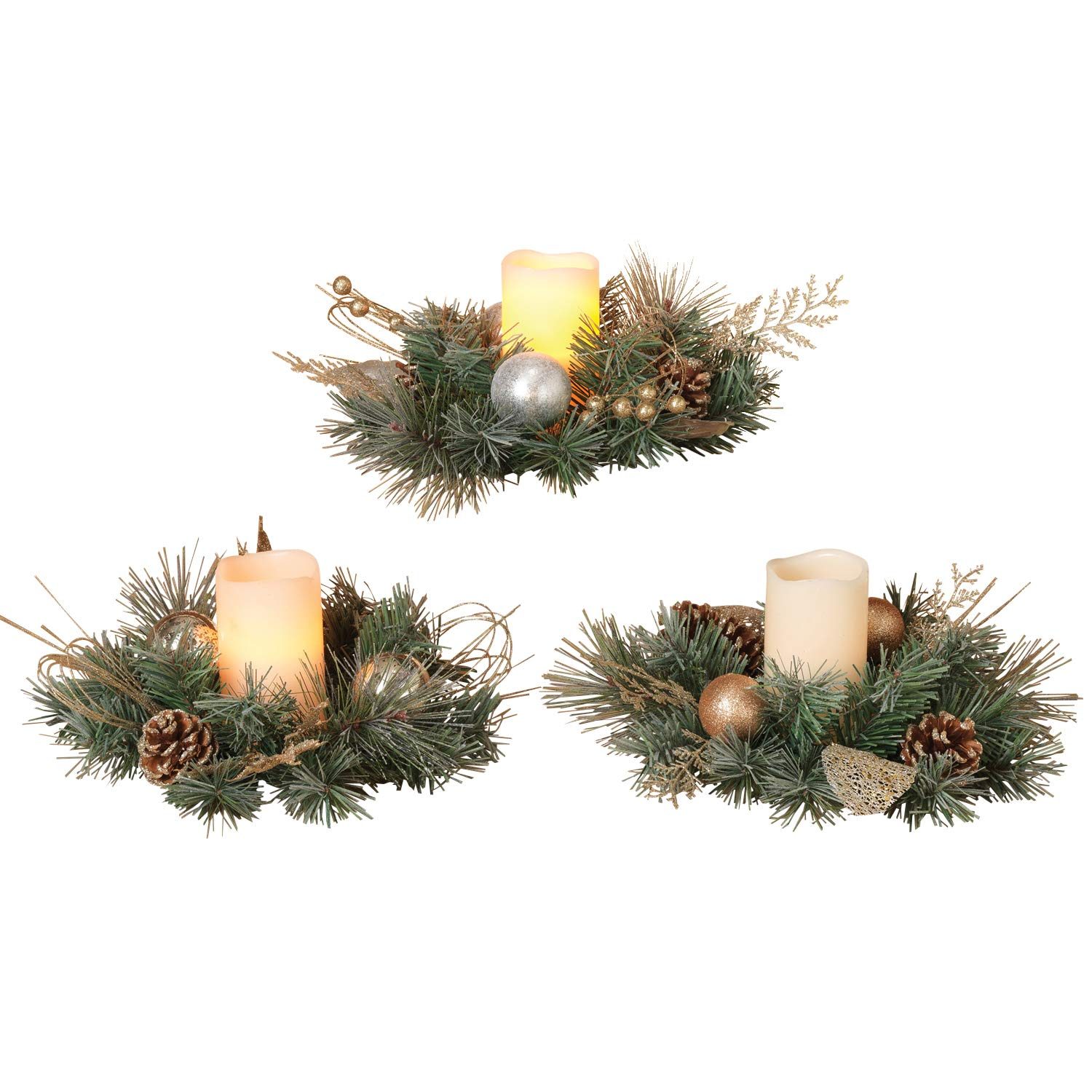 Set of 3 Christmas Candle Rings - 10 inches Diameter- Gold Silver Artificial Pine