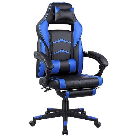 FIXKIT Gaming Chair Silla de Oficina Gaming con Reposapiés Plegable, Reposabrazos, Almohada, Silla Giratoria Ergonómica para PC Ajustable en Altura, ...