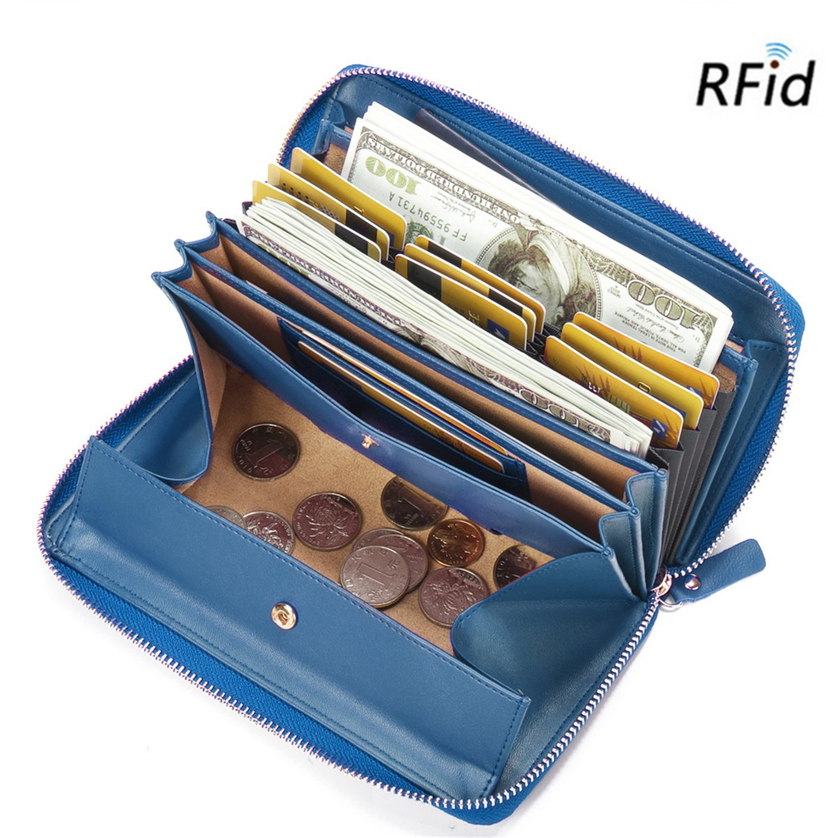 Brenice Women Wallet Card Holder, RFID Cowhide Zipper Long Wallets Large Capacity 11 Card Slots Coin Purse Blue 7.87''x 1.18''x 4.53''(LxWxH)