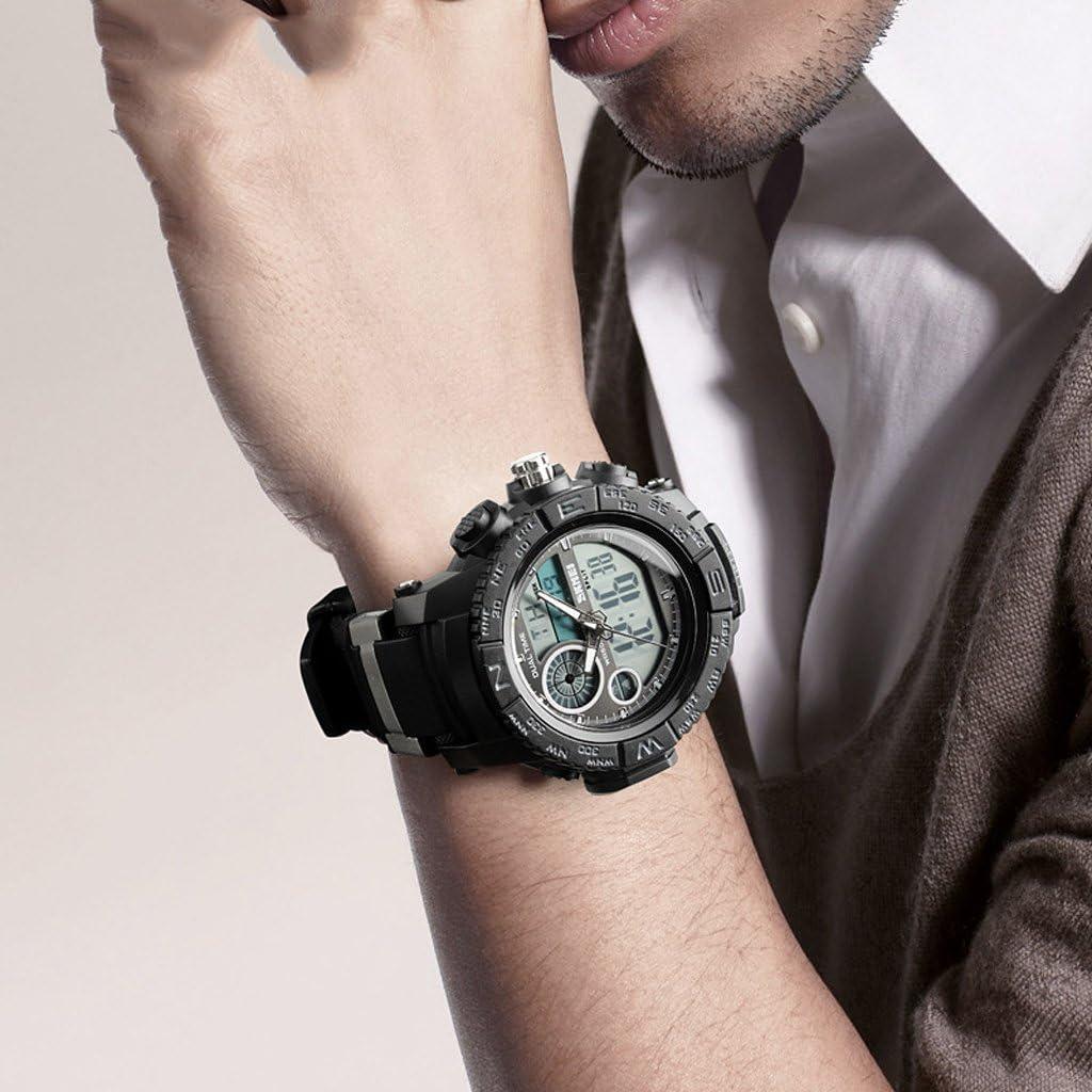 TY-JFSM Herrenuhr wasserdichte Uhr Der Im Freiensportuhr-Art Und Weiseelektronischuhr Leuchtende Uhr (Farbe : Blue) Black