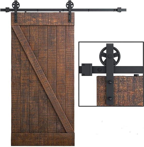 Juego de herrajes para puerta corredera de 6.6FT/200 cm, rieles para puerta corredera colgante, riel de la puerta, kit para puertas correderas interiores, divisores y armarios de pared, tipo redondo: Amazon.es: Bricolaje