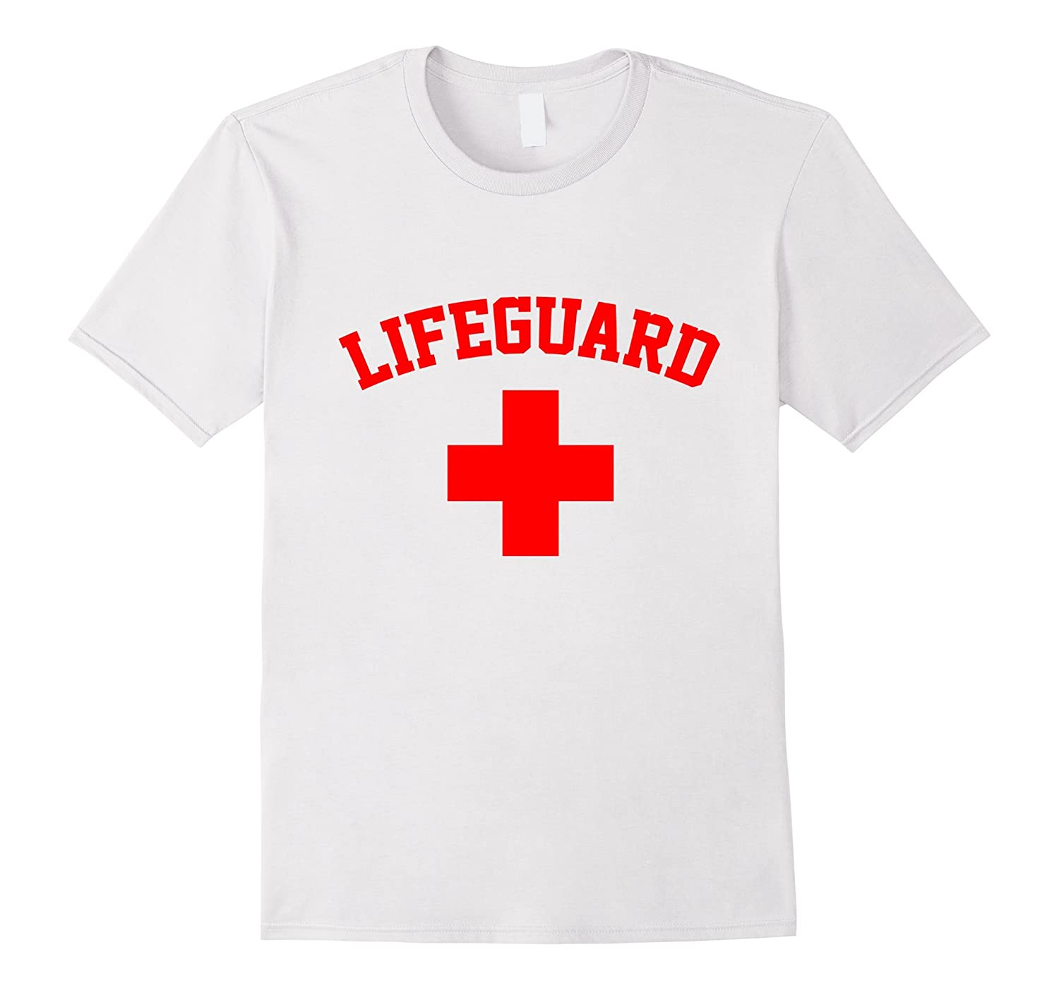 Lifeguard Red & White Swimming Pool T Shirt Tshirt T-Shirt-FL