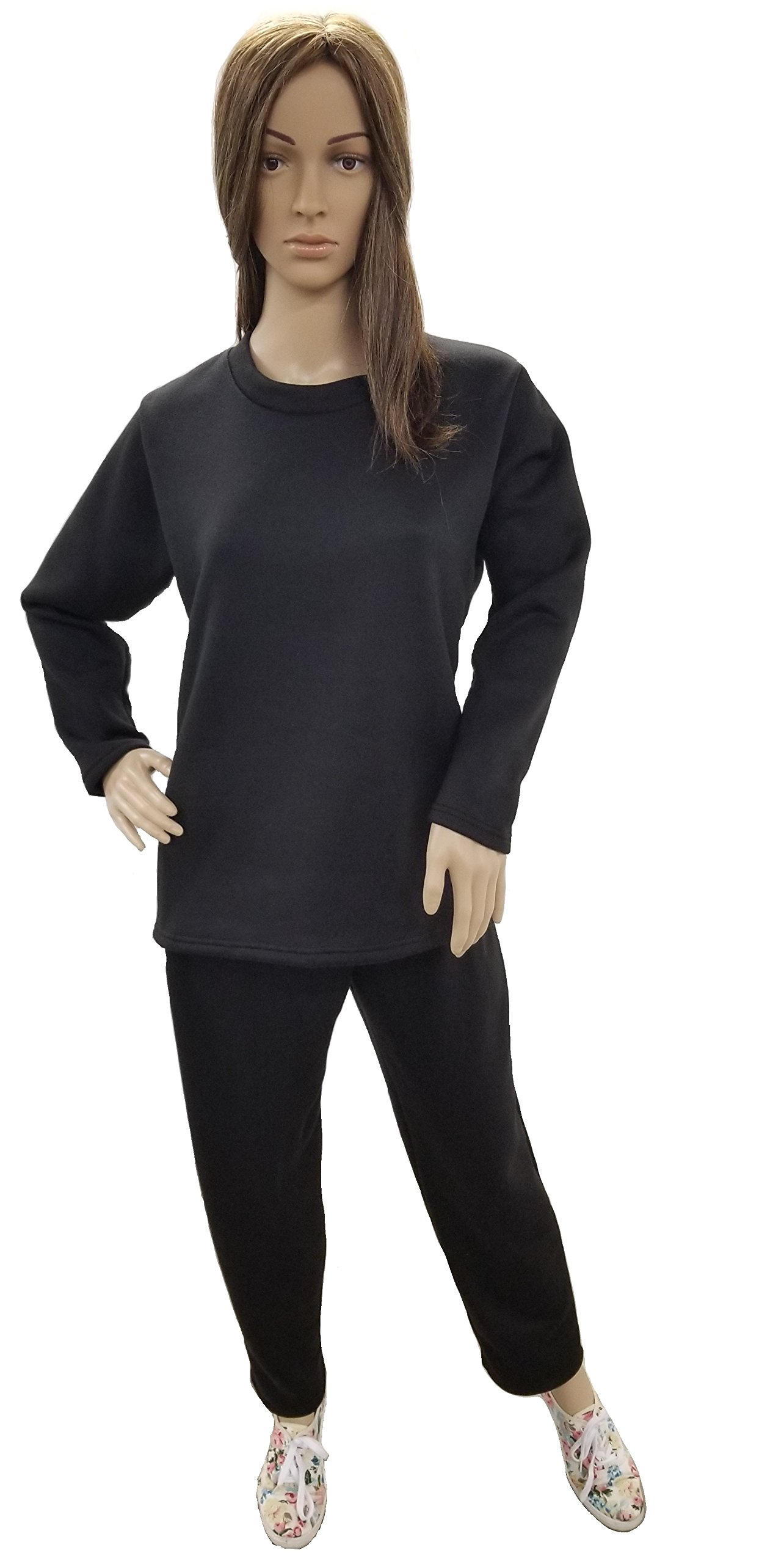 J & E Talit Inc. Women's Fleece Sweatsuit Set-Long Sleeve Comfort Fit Side Pocket Design Cotton Blend (2X, Black)