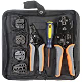 IWISS Crimping Tool Kits with Wire Stripper and Cable Cutters Suitable for Non-Insulated & Insulated Cable End-Sleeves Terminals or Ferrules with 5 Changeable Die Sets in Oxford Bag