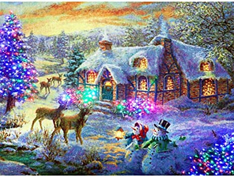 Xmas Full Drill 5D Diamond Painting Embroidery Cross Stitch Christmas DIY Kits*