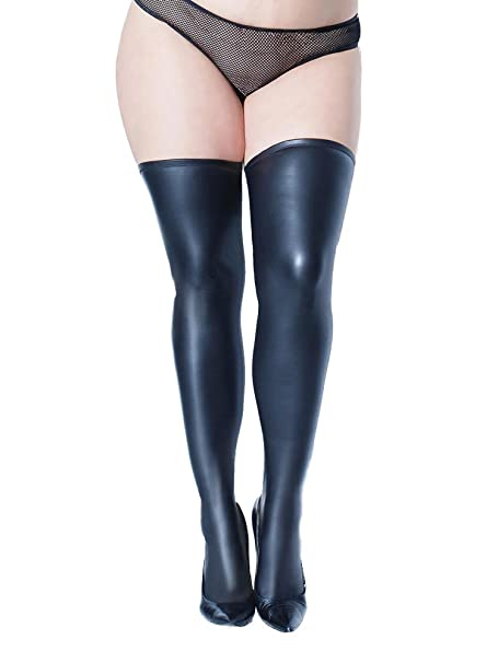 0a4df95b8 Coquette Plus Size Matte Wet Look Stay Up Thigh High Stockings- Fits size  14-20  Amazon.ca  Clothing   Accessories