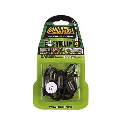 EasyKlip BannaBungee 49061 6-Inch Cord Loop, Black, 4-Pack - Bungee Cords - .com