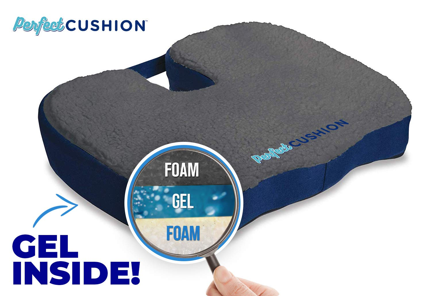 Perfect Cushion Charcoal Infused Memory Foam & Gel Seat; Quality & Therapeutic Comfort Designed to Cradle & Support Your Body; Helps to Relieve Back Hip & Tailbone Pain. Built in Carry Handle by Allstar Innovations