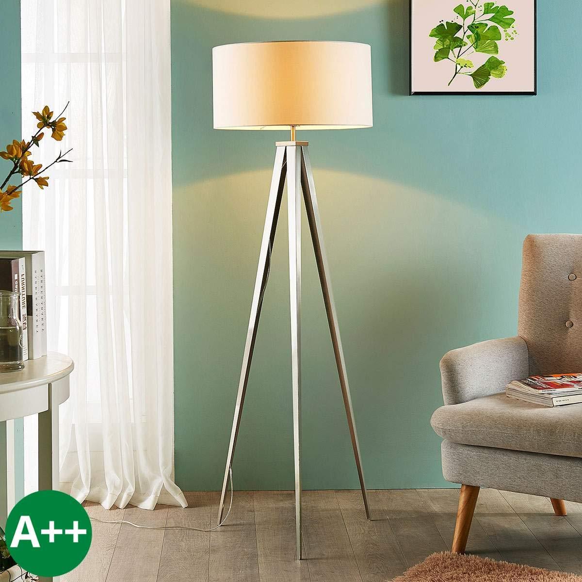 Lampenwelt Dreibein Stehlampe 'Benik' (Modern) in Weiß aus Textil u.a. für Wohnzimmer & Esszimmer (1 flammig, E27, A++) | Stehleuchte, Floor Lamp, Standleuchte, Wohnzimmerlampe, Tripod