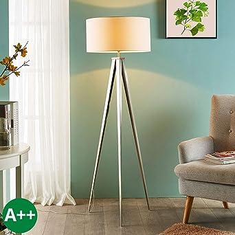 Lampenwelt Tripod Stehlampe Benik Modern In Weiss Aus Textil U A
